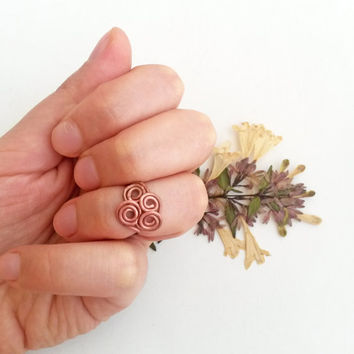 Copper wire knuckle ring - Midi ring Filigree ring Wire ring Wire jewelry Fantasy ring Knuckle ring Copper wire ring Elven ring Elvish