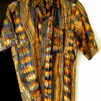 Rare African Shirt, Abstract Tie-Dye Barkcloth design, Large - XL  - Summer weight, Tailored Fitted, short sleeve, yellow brown black