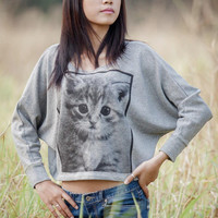 Cat Sweatshirt Kitty Longsleeved Women Shirt Pullover Oversize Bat Wing Style Half Body In Gray Sweater.