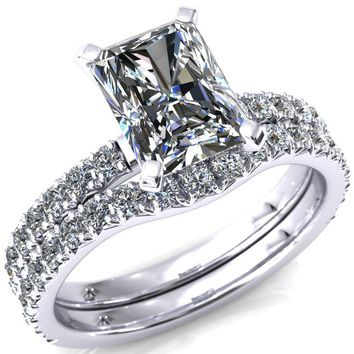 Nefili Radiant Moissanite 4 Prong 3/4 Eternity Diamond Accent Engagement Ring