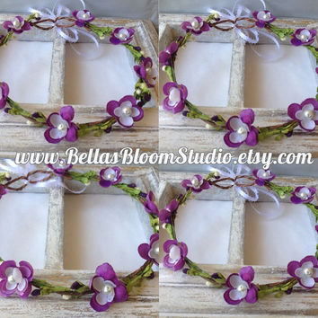 TIABELLA Flower Crown Purple- floral hair wreath - flower headpiece Plum flower crown Flower girl crown lavender crown toddler crown etsy