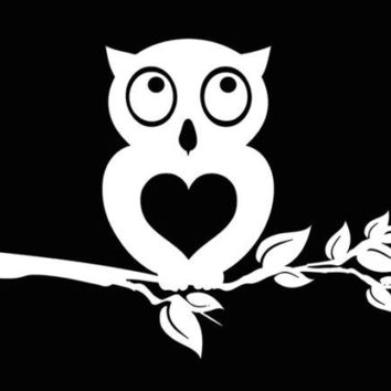 Owl Tree Car Truck Laptop Window Decal Sticker White