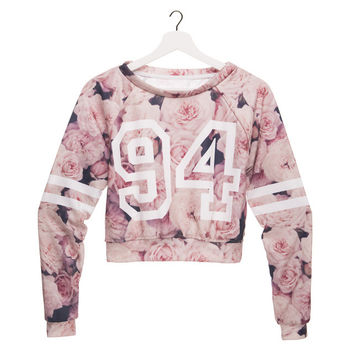 2016 Zohra New Spring Autumn 3d Hoodies vintage roses pink Long Sleeve Female Casual Slim Short Crop Trendy Feminino 34425