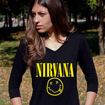 NIRVANA Shirts Smiley Face Kurt Cobain Shirt Grunge 3/4 Raglan Long Sleeve Alternative Rock TShirt Tee V Neck Women Lady T-Shirt
