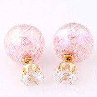 Hot Cute Candy Color Double Side Round Pearl Earings Resin Crystal Ball Ear Studs OS = 1958657924