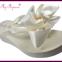 Bridal Flip Flops Ivory White Wedge Womens Wedding Platform Satin Bow Flip Flops