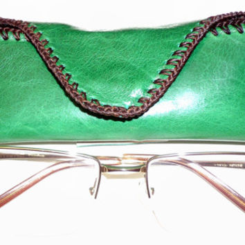Balong Green leather reading glasses case