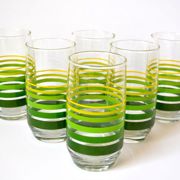Vintage Striped Glass Set, Green Drinking Glasses, Retro Tumblers, Set of 6, Green Striped Glassware, 12 oz Tumbler Set, Water Glasses
