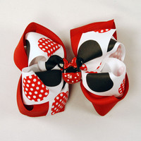 Minnie Mouse Boutique Hair Bow Stack Bow Layered Bow Red black and white Polka Dot