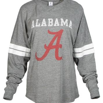 Official NCAA Venley University of Alabama Crimson Tide UA ROLL TIDE! Women's Long Sleeve Tri-Blend Football Tee