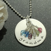 Grandma necklace with birthstones - Personalized disc