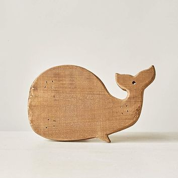Distressed Wooden Whale Shaped Pedestal - 11-in