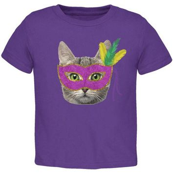 LMFCY8 Mardi Gras Mask Funny Cat Toddler T Shirt