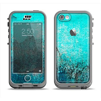 The Grungy Teal Surface V3 Apple iPhone 5c LifeProof Nuud Case Skin Set