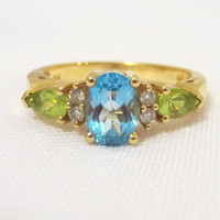 Vintage 14K Solid YG Natural Blue Topaz Peridot & Diamond Ring Size 7.5
