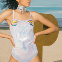 Fathie Silver Metallic Mermaid Shell Applique Thong Bodysuit