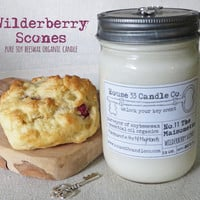 soy wax candle, No. 11 The Maisonette, Wilderberry Scones soy beeswax candle, essential oils, organic candle, mason jar, bakery scent