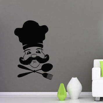 Wall Decals Vinyl Decal Sticker Art Mural Kitchen Decor Cook Chef Cooking Kj471