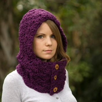 Purple Hooded Cowl, Crochet Hoodie, Eggplant Button Neck Warmer with Hood