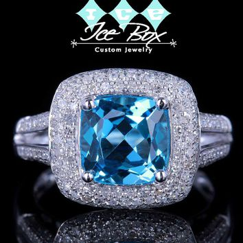 Topaz 3ct, 8mm Cushion Cut Neon Blue in a 14k White Gold Micro Pave Diamond Halo Setting