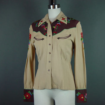 Vintage 40s Embroidered Western Snap Blouse 1940s Ladies Womens Fitted Gabardine Shirt Cowgirl Rodeo S Small