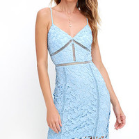 Burning Desire Light Blue Lace Dress