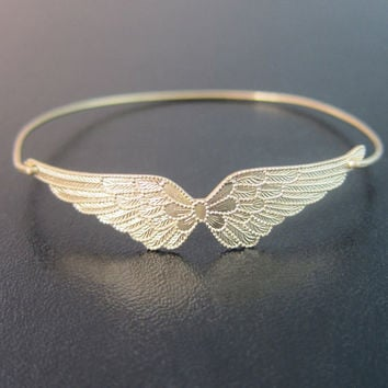 Double Angel Wings Bracelet Bangle Gift for Air Force Girlfriend