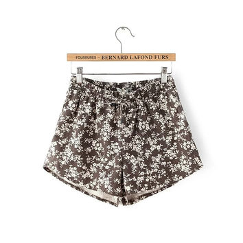 Summer Linen Print Rinsed Denim Floral Pants Shorts [6047767169]