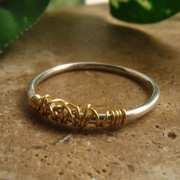Stacking Ring Silver with Gold Tangled 18
