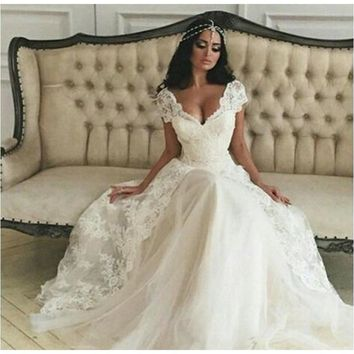 Summer Simple A-line Wedding Dress Lace Cap Sleeve Bridal Gowns Cheap Dress For Bride vestido de noiva Beach louisvuigon