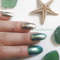 mermaid nails oval shape 3d sea ocean scales cosplay vacation beach wedding costume nails hand painted false tips fashion lasoffittadiste