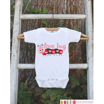 Novelty Lovebug Bodysuit For Girls - Valentines Day Love Bug Onepiece - Pink & Red Caterpillar Outfit - Baby Shower Gift for Newborn Girl