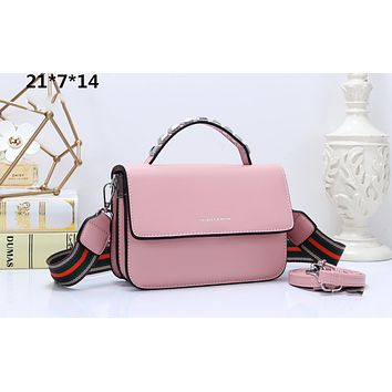 CHARLES & KEITH New Contrast Studded Tote Bag Small Square Bag Wide Shoulder Strap Crossbody Bag pink