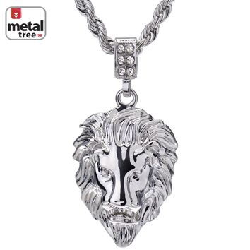 """Jewelry Kay style Men's Hip Hop Iced Out Mini Lion Head Pendant 24"""" Rope Chain Pendant Necklace"""
