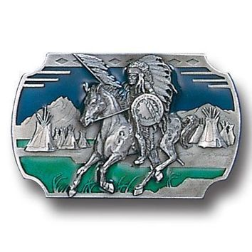 Sports Accessories - Indian on Horse Enameled Belt Buckle