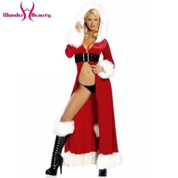 PEAPGB2 High Quality 2016 Women Red Fancy Chrismas Hooded Robe With Black Belt Costume Sexy Miss Santa Claus Fancy Dress W134066