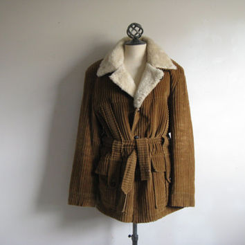 Sears The Mens Store Coat Tan Whale Cord Vintage 70s Winter Jacket Mens Car Coat Medium