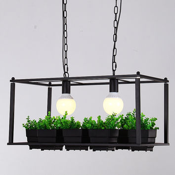 American Country Industrial Plant Pots Rectangular Iron Decorative Chandelier E27*2 Loft Pendent Lighting Fixtures A155