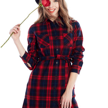 Red Contrast Plaid Print Belted Long Sleeve Coat