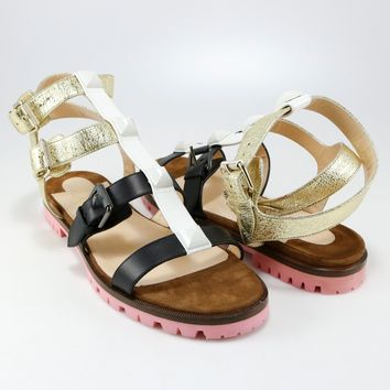 Christian Louboutin 38.5 Rocknbuckle Pink Brown White Gladiator Sandal Flat A254