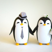 Penguin Wedding Cake Topper (FREE Shipping for U.S. only)