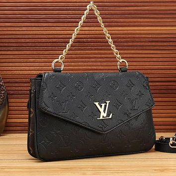 LV Louis Vuitton Women Leather Fashion Two-sided Chain Crossbody Shoulder Bag Satchel