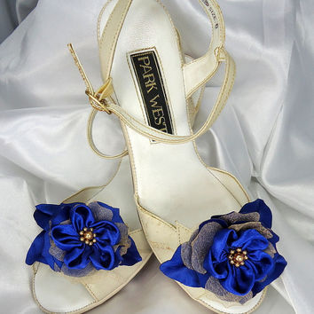 Satin Organza 'Bonnie Wee' shoe clips Royal Blue Gold Set of 2 Flowers