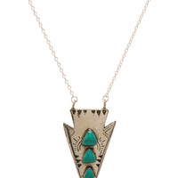 Turquoise + Tobacco Bandida Necklace in White Brass   REVOLVE