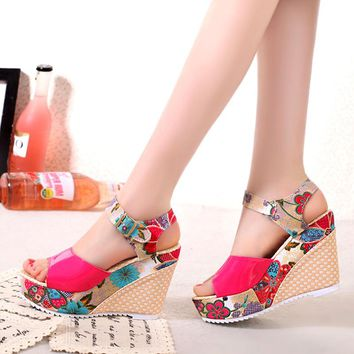 Wedges Casual Shoes Woman Floral Super High Heels Open Toe