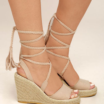 Cali Beige Suede Lace-Up Espadrille Wedges