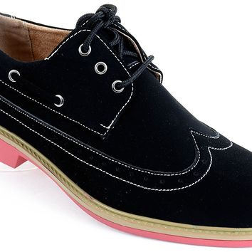 Men's Wing-tip Vegan Suede Rockabilly Casual Dress Black Pink Oxford Shoes