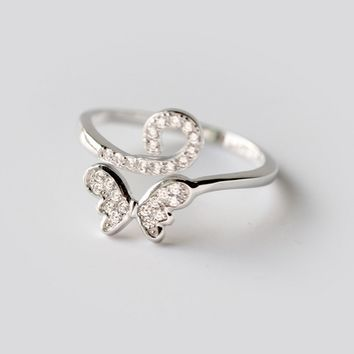 Personality fashion butterfly 925 Sterling Silver zircon ring