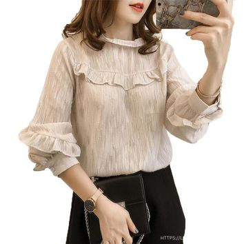 2018 Fashion Ruffles Women Blouses Loose Long Lantern Sleeve Casual Blouse Stand Collar Ladies Shirt Women Tops Plus Size S-4XL