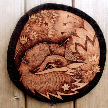 Fox Wall Hanging, wood Wall art, Pyrography (Wood burning), sleeping fox, fox decor, fox art, woodland fox, woodland decor, wood wallhanging